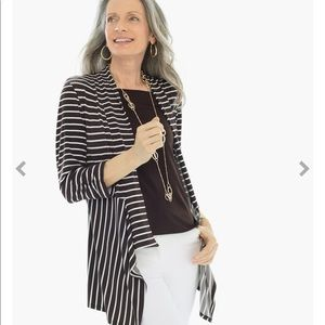 Chico's Knit Striped Open Jacket NWT